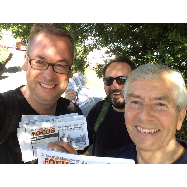 Lib Dems Stuart Bonar, Steve Guy and Hugh Janes helping at the Clifton with Maidenway by-election