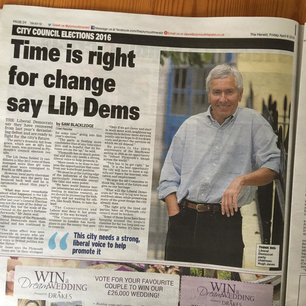 Herald coverage of Lib Dem local election campaign 2016