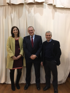 Sir Ed Davey MP with Plymouth Liberal Democrats Sima Davarian and Hugh Janes (Caroline Voaden)
