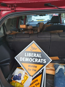 Car load of posters and stakes (Dennis Draper 2019)